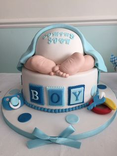 Attractive Boys Baby Shower Cake