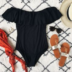Salt & Sand Ruffle One Piece Swimsuit in Black