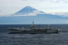 USS Blue Ridge with Mt. Fuji in background