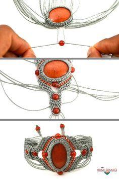 Macrame bracelet tutorial with stones