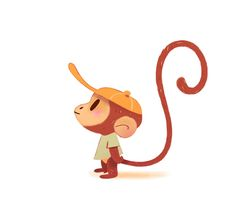 Great to use as a guide for painting directly onto a cake or as a fondant cut out. Monkey Drawing, Monkey Art, Cute Monkey, Illustration Singe, Character Illustration, Monkey Tattoos, Character Design Inspiration, Creature Design, Animal Design