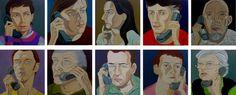 'The Conversation' oil on canvas, 60 x 60cms each panel, 2003