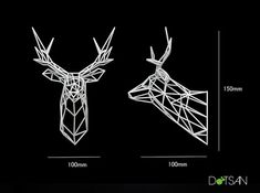 3D printed stag trophy, 150mm high in white nylon in a faceted wire look. It is very light and can be wall mounted with a small pin nail. The stag is a