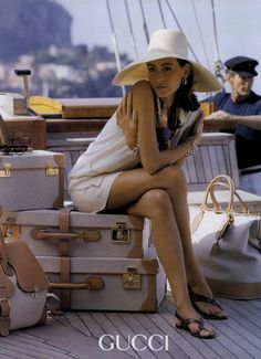 Here the ad is campaigning Spring/Summer in 1991. The model is in summer clothing, on a boat, and looking fashionably comfortable. The colours are all soft and similar toned, therefore complimenting each other. Her skin is tanned, making her as an object stand out. Also to signify that it is a warm season of the year. The male in the background may suggest that she is attractive or either overruling him.