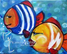 """""""Schools Out"""" Need something new for the whole family? Let your inner artist shine at Picasso and Wine in Windsor. Sign up together for a fun night, and leave with fun paintings like this one! www.picassoandwine.com Painting Classes 