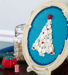 Felt and Buttons Picture        Turn crafts scraps into a bright, bold holiday picture frame. Trace the picture frame backing onto a piece of thin cardboard. Cut the same shape from two different-color blue pieces of felt. Glue the lighter piece to the cardboard. Cut the center from the darker piece with scalloped-edge scissors, leaving 1/2 inch; glue around the rim of the cardboard. Glue ivory buttons into a tree shape, decorating with small colorful buttons for ornaments.