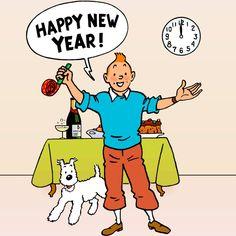 1957 ☀ 1er JANVIER, BONNE ANNÉE ! ☀ Illustration pour le calendrier du « Journal Tintin » belge n°50 (11 décembre 1957), et français n°480 (2 janvier 1958). ☀ HAPPY NEW YEAR à tous les tintinophiles et les non tintinophiles d'ici et d'ailleurs !