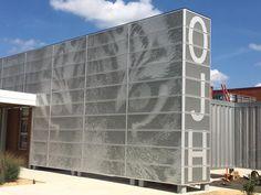 """Perforated metal panel wall screen installation at Ozark Junior High. Metal Wall Panel, Metal Panels, Perforated Metal Panel, Porte Cochere, Metal Mesh, Garage Doors, Canning, Outdoor Decor, Architects"