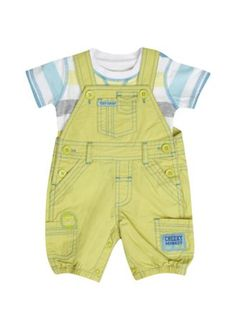 Newborn Boys Poplin Dungaree Set