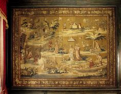 Young' Sir John Brownlow commissioned this tapestry from John Vanderbank a Huguenot Refugee emigre in The subjects were taken from Indian miniatures. The Chapel Drawing Room at Belton House. Belton House, Rococo Style, Rest Of The World, Drawing Room, Room Tapestry, Miniatures, Clock, Indian, Canvas