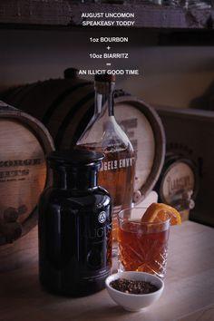The August Uncommon Speakeasy Toddy:  1oz Bourbon + 10oz Biarritz = An Illicit Good Time
