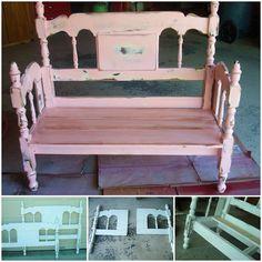 repurposed bench | repurposed headboard bench – via In His Grip