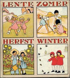 Seasons by Dutch illustrator by Rie Cramer / vintage illustration Vintage Children's Books, Vintage Cards, Vintage Images, Vintage Toys, Round Robin, Vintage Calendar, Dutch Artists, Children's Literature, Children's Book Illustration
