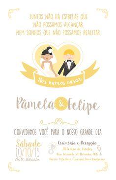 Convite de casamento romântico. #Casamento #Convite #Amarelo #wedding…