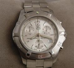Mens Tag Heuer 2000 Exclusive Chronograph Watch Stainless Steel Silver CN1111   eBay