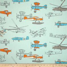 Premier Prints Vintage Air Mandarin/Aqua - Cotton Duck Item Number: 0278294 OUR PRICE: $7.48 PER YD