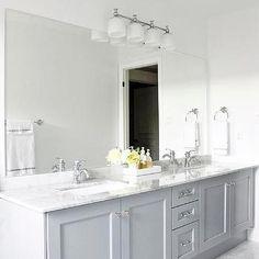 Gray Cabinets, Contemporary, bathroom, Benjamin Moore Pigeon Gray, AM Dolce Vita