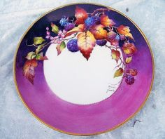 """Gorgeous Bavaria 1940-70's Hand Painted Vibrant """"Blackberry"""" 8-5/8"""" Plate by the Renown Artist, """"Maria Garcia"""""""