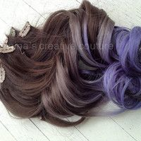 "Ombre Hair Extensions,Katy Perry, Dark Brown Hair with dark to light purple Fade,(7) Piece, 18"", Ready To Ship"