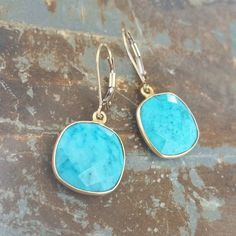 Gold Turquoise Earrings, Gold Turquoise Dangles, Gold Turquoise Dangle Earrings…