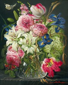 Asian Vases, Gladiolus, Cool Paintings, Bouquet, Birds, Colours, Rose, Floral, Flowers