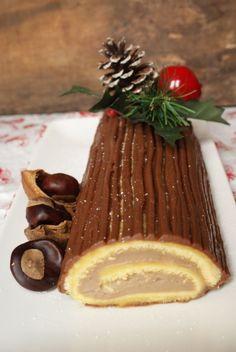 Bûche de Noël à la crème pâtissière aux marrons Panna Cotta, Strawberry, Pudding, Cooking, Ethnic Recipes, Desserts, Sweets, Candy Stations, Candy Buffet