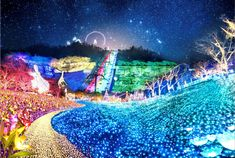 The risquély named Sagamiko Resort Pleasure Forest will once again be pulling out all the stops for its winter illumination show. Sagamiko Illumillion claims to Tokyo Things To Do, Winter, Painting, Winter Time, Painting Art, Paintings, Painted Canvas, Drawings, Winter Fashion