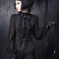 Black Seventies Silk Gothic Victorian Clothing Shirts Tops Mens Women  SKU-11407026