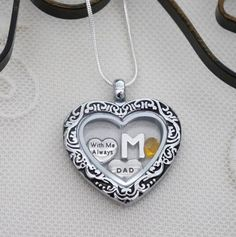 Dad Memorial Locket, Dad Memorial Heart Locket, Letter Birthstone, Personalized, With Me Always Necklace, Dad Memorial Gift, Dad Remembrance