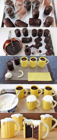 Awesome Beer Mug Cupcakes #lol #haha #funny