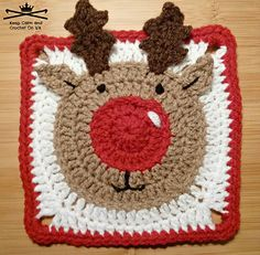 The Rudolph the Reindeer afghan square pattern is perfect to add to a multi square Christmas themed afghan or for a cushion or Christmas coasters.
