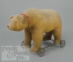 Large mohair teddy bear ride-on toy, probably Steiff...Pook & Pook