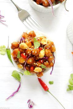 Kung Pao Chickpeas. Grao de bico e amendoim