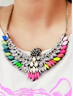NECKLACE: http://www.glamzelle.com/collections/jewelry/products/neon-eagle-crystal-necklace