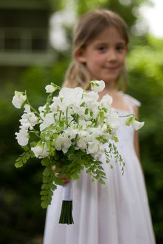 A sweet bridal bouquet made of sweet peas and maiden hair ferns... one of our favorites!