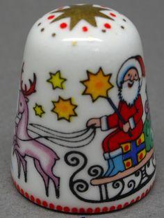 Christmas. Arta thimble. Austria. Cobre esmaltado. Thimble-Dedal-Fingerhut.