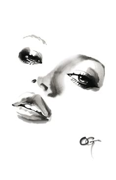 #Kate_Moss #OHGUSHI #Fashion_illustration #portrait_painting #watercolor #japanese_ink #Bijinga #水墨画 #美人画