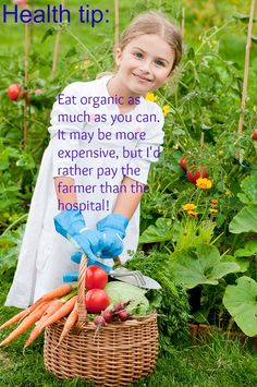 Organic produce is well worth the additional price because you can't put a price on good health! Eating Organic, Organic Recipes, Farmer, Health Tips, Healing, Canning, Live, Food, Meal