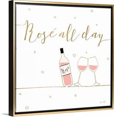 """Fun illustration of a rose wine bottle and two glasses with scripted gold text. """"Underlined Bubbly V"""" wall art by Veronique Charron from Great BIG Canvas."""