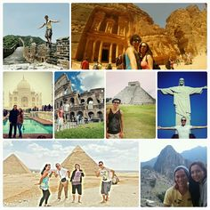 That's me at all 7 wonders of the world + the last remaining ancient wonder of the world 1) great Wall of China  2) petra Jordan 3) Taj Mahal India 4) Collosseum Italy 5) Chichen Itza Mexico 6) Corcovado Brazil 7) Piramide Egypt (ancient)  8) Machu Picchu Peru  7wonders 7wonderoftheworld sevenwonders travel traveling worldtravel