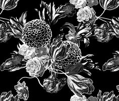 mid century modern floral ~ black and white fabric by peacoquettedesigns on Spoonflower - custom fabric