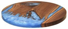 Amish Artistic Walnut Wood Lazy Susan with Blue River Epoxy This walnut and blue epoxy Lazy Susan is an eye catcher hands down. Browse unique Amish made gifts at DutchCrafters. #LazySusan #gifts #kitchenaccessories