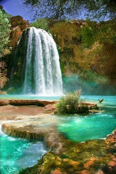 #Havasu #Falls at the Havasupai Indian Reservation in Arizona - #GuessQuest