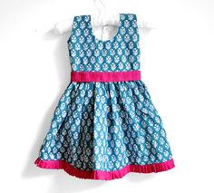 Baby Dress - Size 9 -18 months - Teal dress with white floral print -  Baby Girl Dress via Etsy