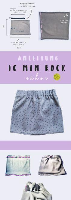 In nur 10 Minuten Rock nähen aus einem Quadrat - so geht's in 5 Schritten. Geeignet für jede Größe. Perfekt für Anfänger.