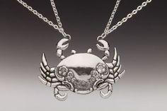 Crab Silver Spoon Creature Pendant Necklace