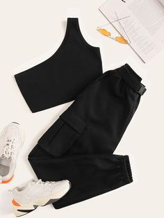 One Shoulder Crop Top & Buckle Cargo Trousers Girls Fashion Clothes, Fashion Outfits, Really Cute Outfits, Pants For Women, Clothes For Women, Crop Top Outfits, One Shoulder Tops, Kpop Outfits, Two Piece Outfit