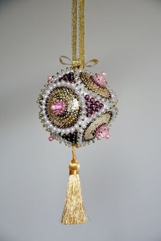 Bohemian crystal, assorted beads and sequins Christmas ornament.