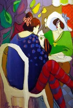 """Original Painting """"Tea for Two"""" by Isaac Maimon"""