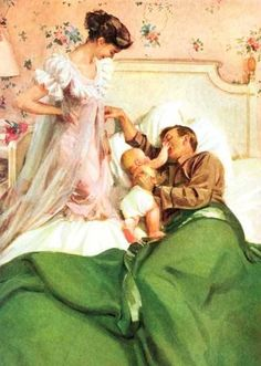 Beautiful vintage family!  Look how fancy the mom's nightgown is, and that sweet little cloth diapered baby with the dad...
